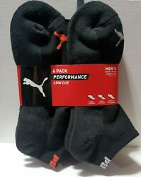 Puma Sock Low Cut Ankle Socks 6-pair  BlackRED Color and Size 10-13 $14.67