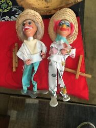 Pair Of Vtg Hand Puppets Vintage Mexican Marionette String Awesome
