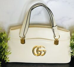 GUCCI Arli Mystic White Large Top Handle  Bag Marmont GG.NEW WITH TAG SOLD OUT🌺 $3,100.00