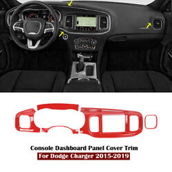 Red Interior Front Console Dashboard Panel Cover Trim For Dodge Charger 2015-19