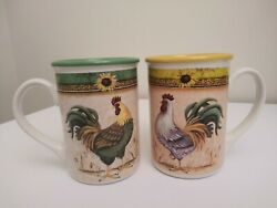 2 Gibson Ceramic Mugs Daybreak Sunflower Rooster Country Coffee Cup 4-5