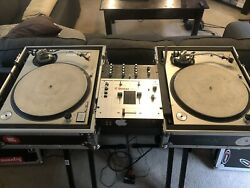 Vintage Technics 1200sl Mk2 Full Dj Set Up With Travel Cases And Stands/ Mixer