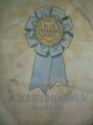 Vtg Seed Corn Bag Blue Ribbon Seeds Allied Seed Co. Inc. Chicago Illinois