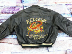 Redskins Retro DSL Leather Jacket Dragon Teddy Da Hang Hue Black Size: XXL Tip