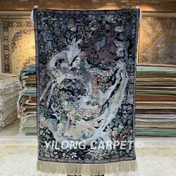 YILONG 2'x3' 750Lines Handmade Silk Tapestry God of Flower Indoor Rug MC004H