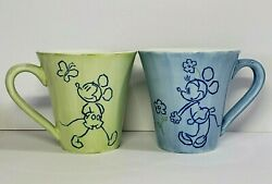 Green And Blue Disney 16 Sketched Mickey And Minnie Mouse Coffee Mugs Cups Set Of 2