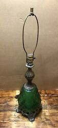 """Vtg Light Mcm 1970 Ef And Ef Industries Inc No. 338. 32"""" Green Bubble Glass Lamp"""