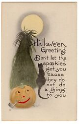 HALLOWEEN POSTCARD BERNHARDT WALL CAT JOL WITH PIPE IN FRONT OF SUN.