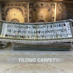 YILONG 8'x2' Handmade Silk Tapestry Pictorial 108 Heroes Antique Rug MC041H