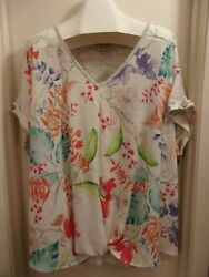 NWT~Avenue~~FLORAL embellished TUNIC top~BLING~knot front~CUTE!~LOOK! 4X~2628 $9.99