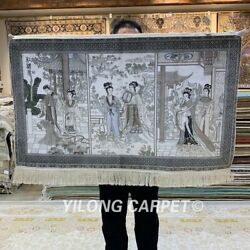 Yilong 2'x3' Red Mansion Handwoven Silk Tapestry Artwork Classic Rug Mc074h