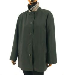 BURBERRY London Womens Khaki Green Polyester Trench Coat w Nova Check Sz M - L