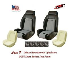 Sport R Deluxe Houndstooth Front And Rear Upholstery + Foam For 1970 Camaro