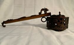 Fine Old Japanese Bronze Yatate Brush Holder And Inkwell For Calligraphy