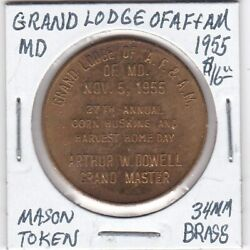 Masonic Penny - Grand Lodge Of Af And Am Of Maryland - 1955 - 34 Mm Brass