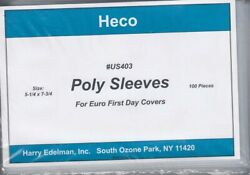 100 Heco Poly Philatelic Sleeves For Euro Covers 5 1/4 X 7 3/4 In. Lightweight