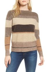 New Standard James Perse Stripe Sweater In Brown/multi - Size 4 Us L S497