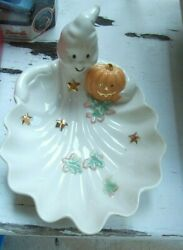 Lenox Occasions Halloween Ghost Pumpkin Candy Dish Stars Leaves Ivory Ceramic