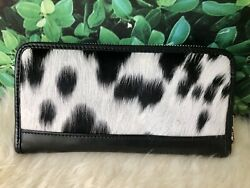 Cowhide Wallet Womens Leather Zip Around Clutch Black Cow Hide Phone Wallet $48.00