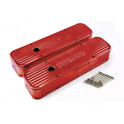 Chevy Sbc 350 Red Anodized Fabricated Valve Covers - Tall W/ Hole