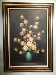 Oil Painting Of Flower Bouquet In Vase By A Julia , Signed And Framed Lovely.