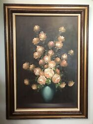 Oil Painting Of Flower Bouquet In Vase By A Julia Signed And Framed Lovely.