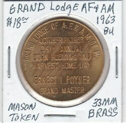 Masonic Penny - Grand Lodge Af And Am Of Maryland - 1963 Bu - 33 Mm Brass