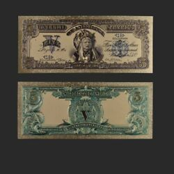1899 Year 5 Dollar 24k Gold Plated Gold Banknote Indian Commemorative Money