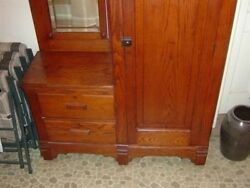 Vintage Chifferobe Solid Oak Cabinet 1900and039s