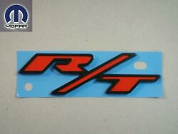 Dodge Chrysler Jeep R/t Rt Rear Emblem Nameplate Decal Black And Red All Models