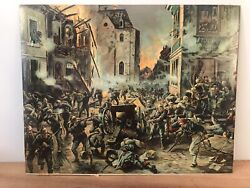 Rare Ww1 French And Imperial German Print - Street Fight In Mulhausen