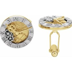 New Clock Design Gears Cuff Links-pair In 14k White And Yellow Gold