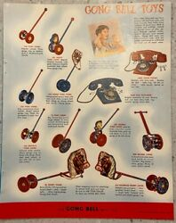 1953 Vintage Gong Bell Toy Print Ad Pull Push Toys, Rocking Horses 2pg Buyer Mag