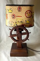 Vintage Ship's Wheel Nautical Wooden Lamp With Original Parchment Shade Works
