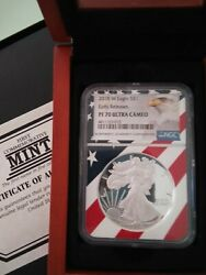 2018 1 0z Silver American Liberty Eagle Coin Early Release Pf 70 New W/cases