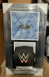 Wwe Wrestlemania 35 Autographed Ring Event Used Turnbuckle And Canvas Plaque 2/12