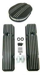 Black Aluminum 1958-86 Chevy Retro Finned Short Valve Covers And Air Cleaner Sbc