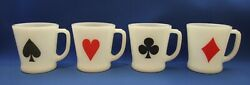 Vintage Anchor Hocking Fire King Set Of Four Card Coffee Mugs