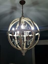 Rustic 24 Weathered Wooden Globe Caged 5-light Chandelier Lighting With Crystal