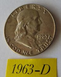 1963 D Circulated Franklin Half Dollar 90 Silver Invest In Silver