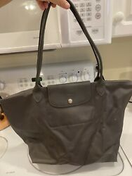 New Longchamp Le Pliage 1899 Nylon Tote Bag with Horse Embroidery Gray $36.00