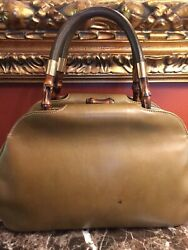 VINTAGE GUCCI BAMBOO COLLECTION CALF LEATHER FRAMED TOP HANDLE TOTE BAG ITALY $9.99
