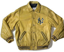 Preowned- Vintage 1990 Mirage New York Yankees Leather Jacket Mens Size Xxl