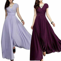Party Bridesmaid Chiffon Ball Gown Evening Cocktail Dress Women Long Formal Prom $17.99