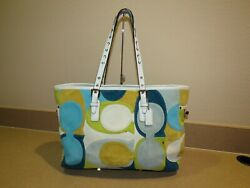 Coach Suede Blue Green White Signature Optic Gallery Tote Shoulder Bag F03682  $59.99