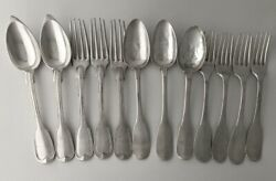 Antique French 950 Silver Fiddle And Thread Pattern 12 Pc Flatware Set 904 Grams