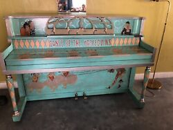 Antique Whimsical Traveling Circus Style Handpainted Harlequin Piano And Stool