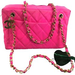 Chanel Authentic Vintage CC Neon Pink Jumbo Quilted Camera Chain Bag $3750 Rare $1,241.99