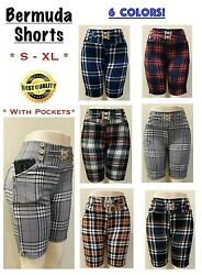 Women's Casual Pull-On Check Pattern Bermuda Shorts with Front + Back Pockets $10.99