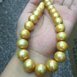 Huge 18l 12-14mm South Sea Golden Pearl Necklace 14k Clasp